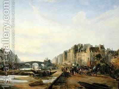 Pont Marie and the Quai Saint-Paul by Charles Louis Mozin - Reproduction Oil Painting
