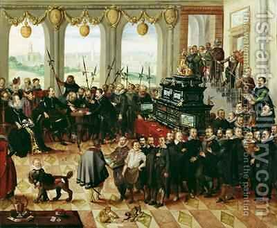 Presentation of the Pomeranian Kunstschrank to Duke Philip II of Pomerania-Stettin 1606-18 in 1617 by Anton Mozart - Reproduction Oil Painting