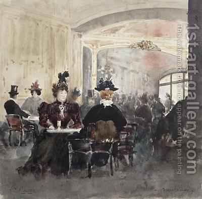 Interior of the Concert Rouge by Henri Laurent Mouren - Reproduction Oil Painting