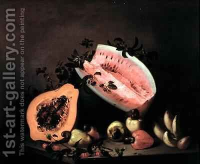 Still life of Papaya Watermelon and Cashew by Agostino Jose da Mota - Reproduction Oil Painting
