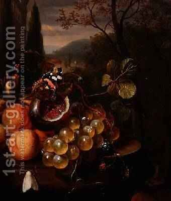 Still Life with Fruit and Butterflies by Jan Mortel - Reproduction Oil Painting