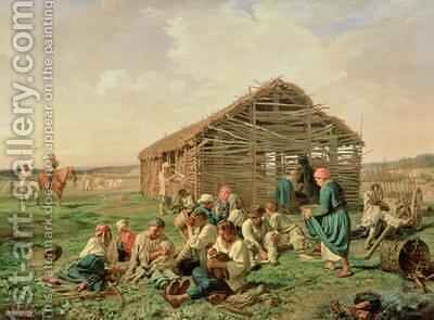 Rest during Haying 1861 by Aleksandr Ivanovich Morozov - Reproduction Oil Painting