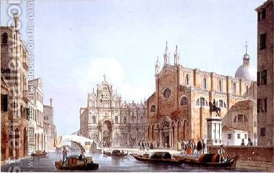 The Church of SS Giovanni and Paolo and S Marco Venice by (after) Moro, Marco - Reproduction Oil Painting