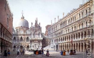 The Courtyard of Palazzo Ducale Venice by (after) Moro, Marco - Reproduction Oil Painting
