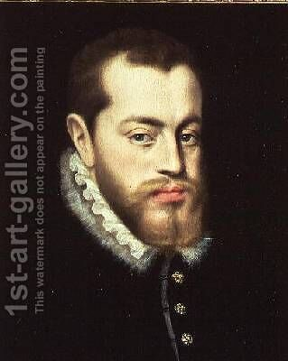 Portrait of Philip II of Spain 1527-1598 by (attr. to) Moro, Antonio - Reproduction Oil Painting