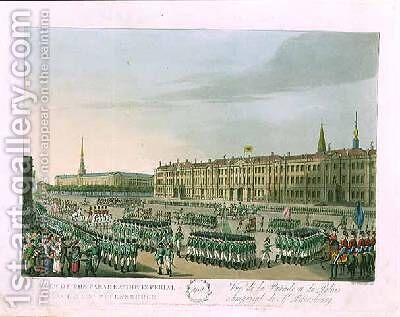 View of the Parade and the Imperial Palace at St Petersburg by (after) Mornay - Reproduction Oil Painting