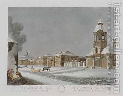 View of the Arsenal and the Foundry at St Petersburg by (after) Mornay - Reproduction Oil Painting