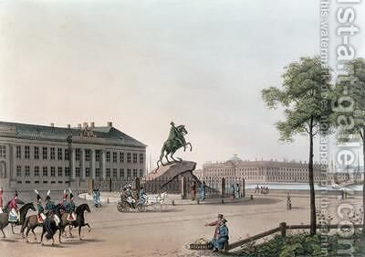 View of the Place of Peter the Great and the Senate House at St Petersburg by (after) Mornay - Reproduction Oil Painting