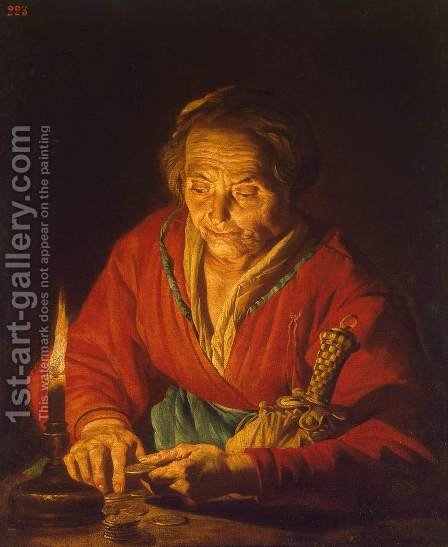 Old Woman with a Candle 1640-1650 by Matthias Stomer - Reproduction Oil Painting
