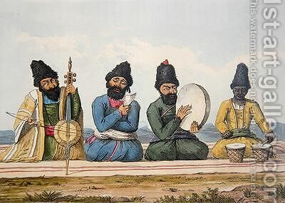 Persian Musicians from A Second Journey through Persia 1810-16 by (after) Morier, James Justinian - Reproduction Oil Painting