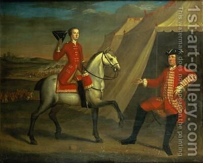 Portrait of an officer said to be General Wolfe on horseback by David Morier - Reproduction Oil Painting