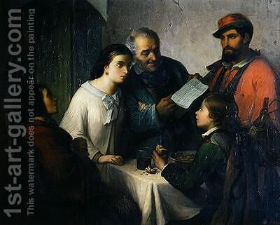 The Letter of the Volunteer from the Front to the Family 1861 by Giuseppe Moricci - Reproduction Oil Painting