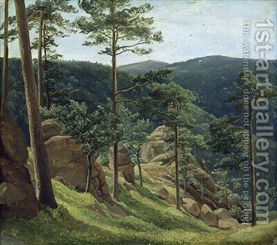 View of Mount Brocken 1829 by Christian Morgenstern - Reproduction Oil Painting