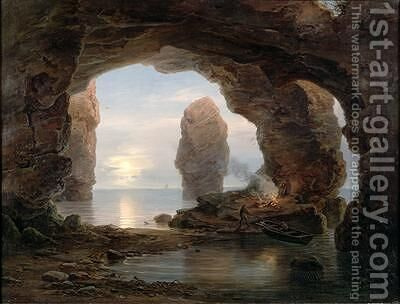 Fisherman in a Grotto Helgoland 1850 by Christian Morgenstern - Reproduction Oil Painting