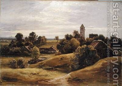 Village near Dachau 1859 by Christian Morgenstern - Reproduction Oil Painting