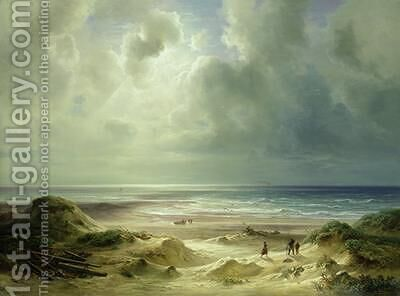 Dune by Hegoland Tranquil Sea by Carl Morgenstern - Reproduction Oil Painting