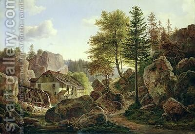 A Watermill in the Vosges near Ribanville 1836 by Carl Morgenstern - Reproduction Oil Painting
