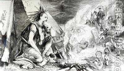 "Pictures in the Fire cartoon from Tomahawk magazine August 24th 1867 by Matthew ""Matt"" Somerville Morgan - Reproduction Oil Painting"
