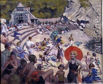 Beacon Cove Torquay 1930 by Edwin Ernest Morgan - Reproduction Oil Painting