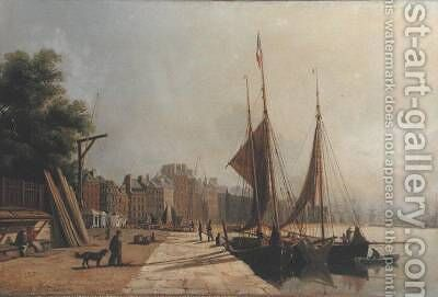 Early Morning Quayside Le Havre 1853 by Antoine Leon Morel-Fatio - Reproduction Oil Painting
