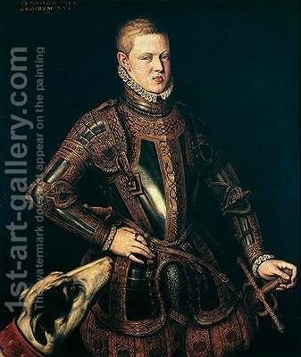 King Sebastian 1554-78 of Portugal 1571 by Cristovao do Moraes - Reproduction Oil Painting