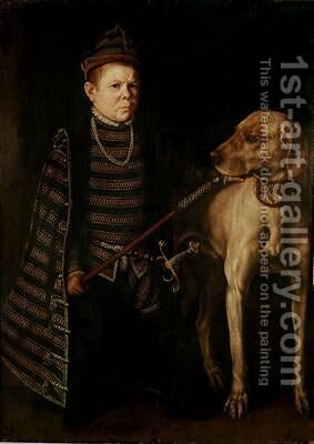 The Dwarf of Cardinal Granvelle 1560 by Anthonis Mor Van Dashorst - Reproduction Oil Painting