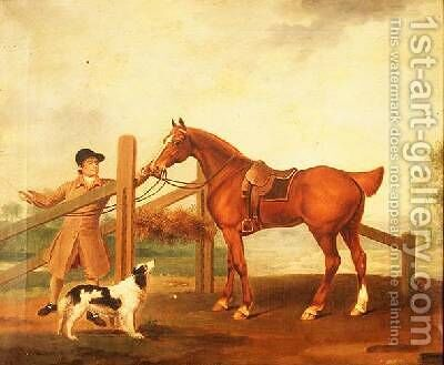 A groom leading a bay hunter by I. Moore - Reproduction Oil Painting