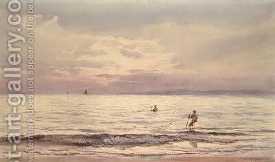 Fishermen Working at Sunset 1868-71 by Henry Moore - Reproduction Oil Painting