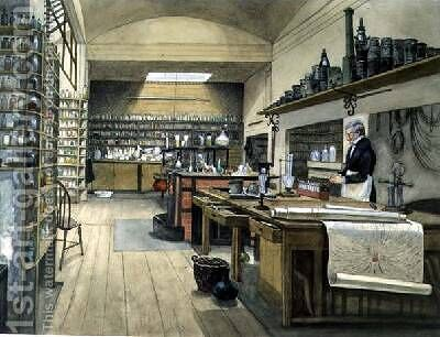 Sergeant Anderson in the Basement Laboratory 1852 by Harriet Jane Moore - Reproduction Oil Painting