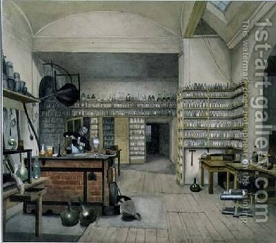 Michael Faraday 1791-1867 in his Basement Laboratory 1852 by Harriet Jane Moore - Reproduction Oil Painting