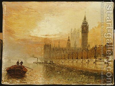 View of Westminster from the Thames by Claude T. Stanfield Moore - Reproduction Oil Painting