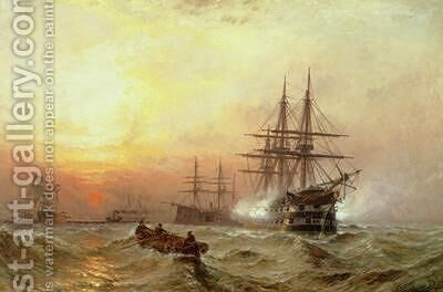Man-o-War firing a salute at sunset by Claude T. Stanfield Moore - Reproduction Oil Painting