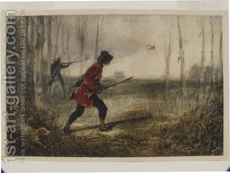 Shooting in a Wood by Alexandre Gabriel Decamps - Reproduction Oil Painting