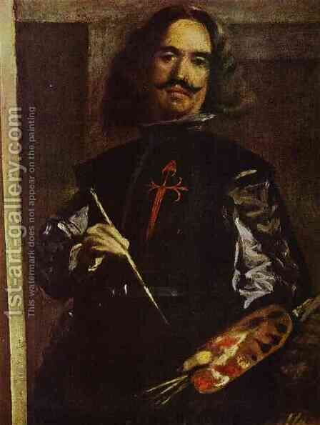 Las Meninas (The Maids of Honor) or the Royal Family. Detail. Self-Portrait by Velazquez - Reproduction Oil Painting