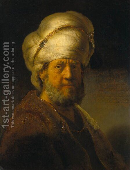 Portrait of a Man in an Oriental Costume by Rembrandt - Reproduction Oil Painting