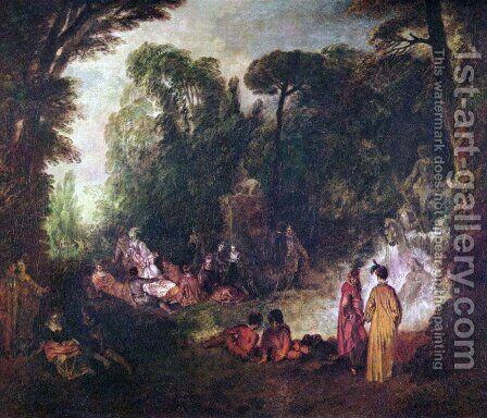 Fest im Park by Jean-Antoine Watteau - Reproduction Oil Painting