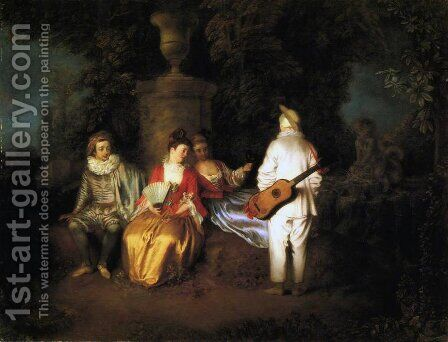 La Partie carrée by Jean-Antoine Watteau - Reproduction Oil Painting