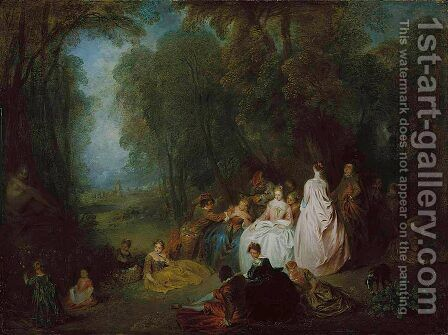 Pastoral Gathering by Jean-Antoine Watteau - Reproduction Oil Painting