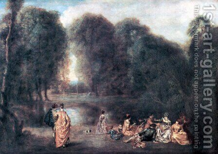 The meeting in the park by Jean-Antoine Watteau - Reproduction Oil Painting