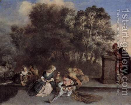 The pastime of the Italian Komoedianten by Jean-Antoine Watteau - Reproduction Oil Painting