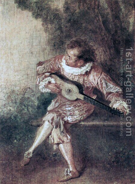 The Serenate by Jean-Antoine Watteau - Reproduction Oil Painting