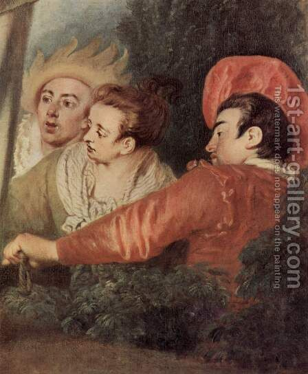 Gilles (detail) by Jean-Antoine Watteau - Reproduction Oil Painting