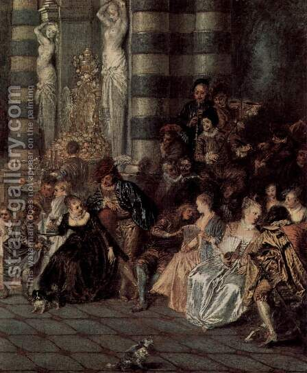Les Plaisirs du bal (detail 1) by Jean-Antoine Watteau - Reproduction Oil Painting