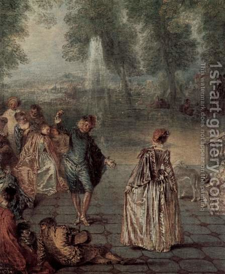 Les Plaisirs du bal (detail 2) by Jean-Antoine Watteau - Reproduction Oil Painting
