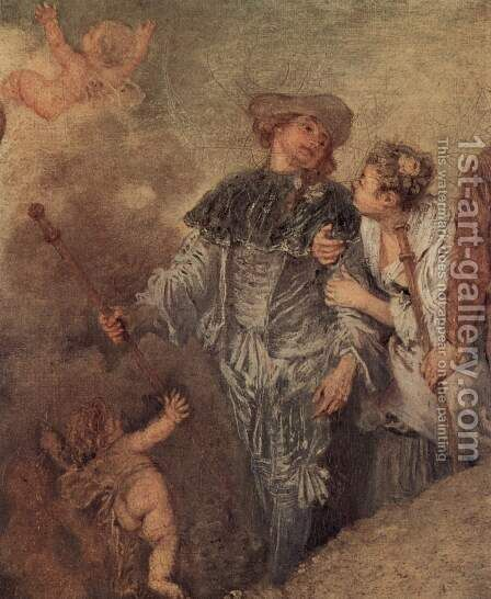 The Embarkation of Cythera (detail 4) by Jean-Antoine Watteau - Reproduction Oil Painting