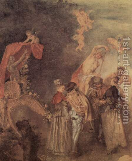 The Embarkation of Cythera (detail 6) by Jean-Antoine Watteau - Reproduction Oil Painting