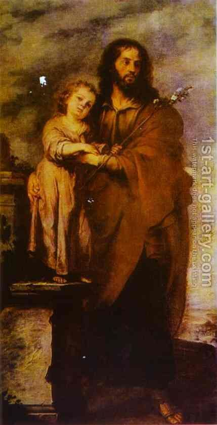 Joseph with Infant Christ by Bartolome Esteban Murillo - Reproduction Oil Painting