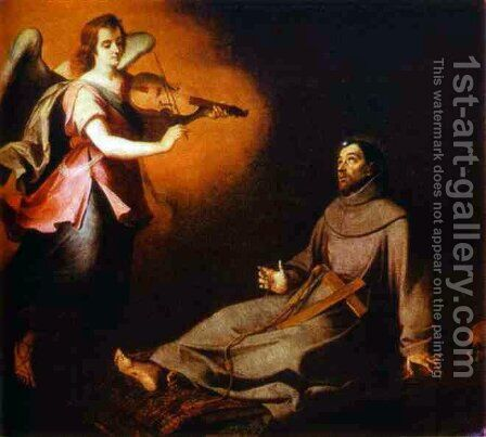 Vision to St. Francis by Bartolome Esteban Murillo - Reproduction Oil Painting