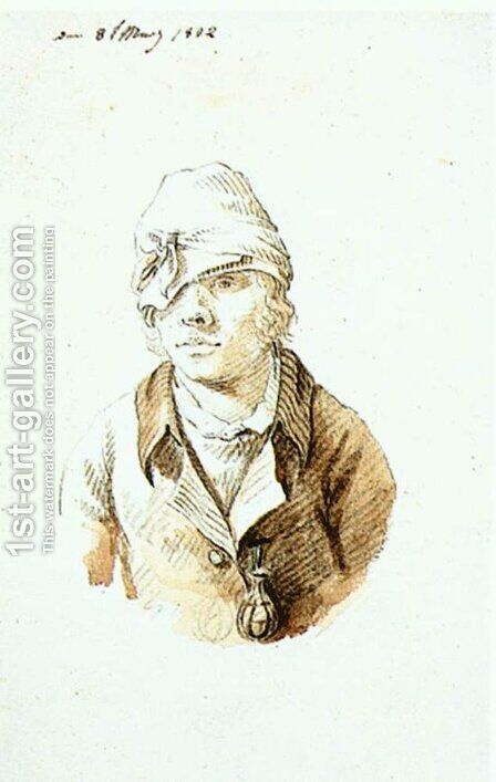 Self-Portrait with Cap and Sighting Eye-Shield by Caspar David Friedrich - Reproduction Oil Painting