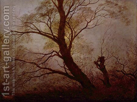 Trees in the moonlight by Caspar David Friedrich - Reproduction Oil Painting